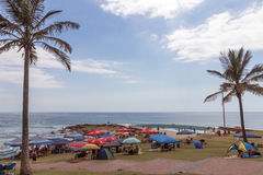People on Early Morning Beach at Scottburgh in  South Africa. SCOTTBURGH, DURBAN, SOUTH AFRICA - DECEMBER 23, 2016: Many unknown people and colorful umbrellas on Royalty Free Stock Photography