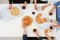 People eat fast food. Friends meeting royalty free stock photos