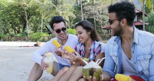 People Eat Tropical Fruits And Drink Coconut Cocktails Talking Sit Over Palm Trees, Happy Men And Women Tourists Tasting stock footage