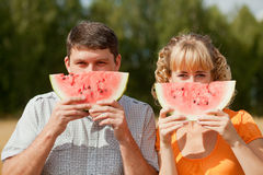 People eat watermelon Royalty Free Stock Image