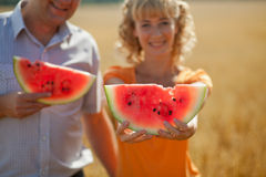 People eat watermelon Stock Image
