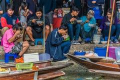 People eating Amphawa bangkok floating market thailand Royalty Free Stock Photography