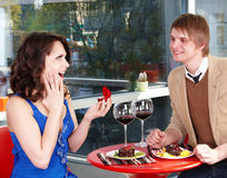 People eating cake in restaurant. Royalty Free Stock Photo