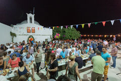 People are eating and celebrating at the big yearly festival Stock Photography
