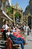 People eating and drinking in a restaurant of Nancy Royalty Free Stock Images