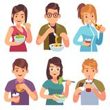 People eating. Eat drinking food men women healthy tasty dishes meals cafe casual lunch hungry friends. Cartoon vector illustration vector illustration
