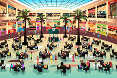 People Eating in a Food Court Stock Photos