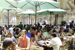 People eating at Municipal Market (Mercado Municipal) in Sao Paulo. royalty free stock image