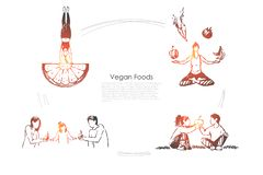 People eating organic food, fruits and vegetables, healthy lifestyle, woman sitting in lotus pose banner. Vegetarian diet, nutrition plan concept sketch. Hand vector illustration