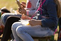 People are eating out in the park Royalty Free Stock Photo
