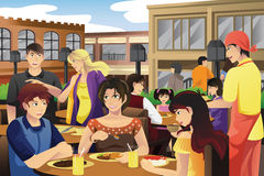 People eating in an outdoor restaurant. A vector illustration of people eating in an outdoor restaurant Royalty Free Stock Photography