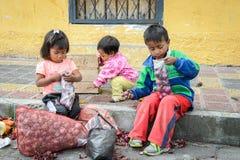 People in Ecuador. OTAVALO, ECUADOR - JAN 3, 2015: Unidentified Ecuadorian children with onion at the Otavalo Market. 71,9% of Ecuadorian people belong to the royalty free stock images