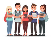 People and Education. Group of happy students with books on an i Royalty Free Stock Images