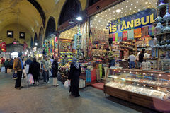People in Egyptian Bazaar in Istanbul, Turkey Stock Photo