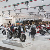 People at EICMA 2014 in Milan, Italy Stock Photos