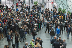 People at EICMA 2014 in Milan, Italy Royalty Free Stock Image