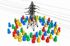 People and the Electricity. Metaphorical illustration of Humanity and the Energy stock illustration