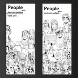People with electronic gadgets line art on two vertical banners Royalty Free Stock Photo