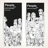 People with electronic gadgets line art on two vertical banners Royalty Free Stock Photography