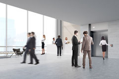 People in an elevator hall. People walking and talking in an elevator hall with a reception counter and two secretaries. 3d rendering Stock Photo