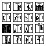 People in Elevator Lift Cliparts Icons Stock Photography