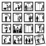 People in Elevator Lift (2nd version) Cliparts Icons Stock Photos