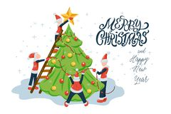 People or elfs in santa costumes decorating the Christmas tree and hand drawn lettering. New year and Christmas holiday flat style vector illustration