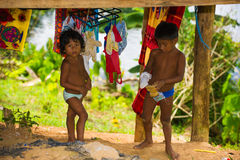 People in EMBERA VILLAGE, PANAMA Royalty Free Stock Photo