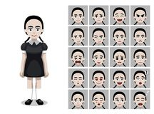 Braid Hair Gothic Girl Cartoon Emoticon Faces Vector Illustration. People Emoticons EPS10 File Format stock illustration