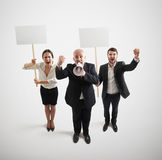 People with empty white placards Royalty Free Stock Image