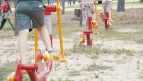 People Engage in Sports Training Equipment on the Street stock footage