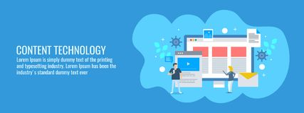Online users interacting with digital content technology, website, mobile, email, video concept. Flat design vector banner. royalty free illustration
