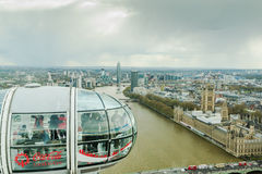 People enjoy aerial view of London over Westminster Royalty Free Stock Photos