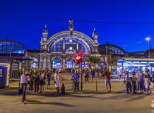 People enjoy the annual Bahnhofsviertel party in Frankfurt. FRANKFURT, GERMANY - SEP 8, 2016: people enjoy the annual Bahnhofsviertel party in Frankfurt. This stock image
