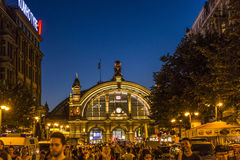 People enjoy the annual Bahnhofsviertel party in Frankfurt. FRANKFURT, GERMANY - SEP 8, 2016: people enjoy the annual Bahnhofsviertel party in Frankfurt. This royalty free stock photography