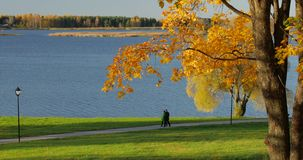 People enjoy the autumn mood at Lake.  stock video footage