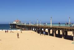 People enjoy the beach at. MANHATTAN BEACH, USA - June 24: people enjoy the beach at the pier on June 24 in Manhattan Beach, USA.  The famous pier with the Royalty Free Stock Image