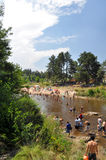 People enjoy the beach in a river of Villa General Belgrano, Cordoba, Argentina Royalty Free Stock Images