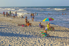 People enjoy the beautiful beach in St. Augustine Stock Image