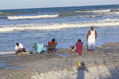 People enjoy the beautiful beach in St. Augustine Stock Photo