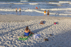People enjoy the beautiful beach in St. Augustine Royalty Free Stock Image