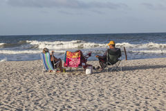 People enjoy the beautiful beach in St. Augustine Royalty Free Stock Images