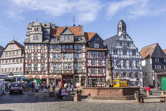 People enjoy the beautiful medieval market place in Butzbach Stock Photography