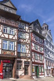 People enjoy the beautiful medieval market place in Butzbach Stock Photos