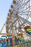 People enjoy the big wheel in the amusement park in Delhi in fro Royalty Free Stock Photography