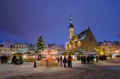 People enjoy Christmas market in Tallinn Stock Photo