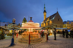 People enjoy Christmas market in Tallinn. TALLINN, ESTONIA -DECEMBER 26: People enjoy Christmas market in Tallinn on December 26, 2014 In Tallinn , Estonia. It royalty free stock photos