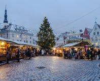 People enjoy Christmas market in Tallinn Royalty Free Stock Images