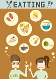 People enjoy eating, illustrations Stock Photography