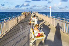 People enjoy the Fishing Pier in Sunny Isles Beach Stock Photos